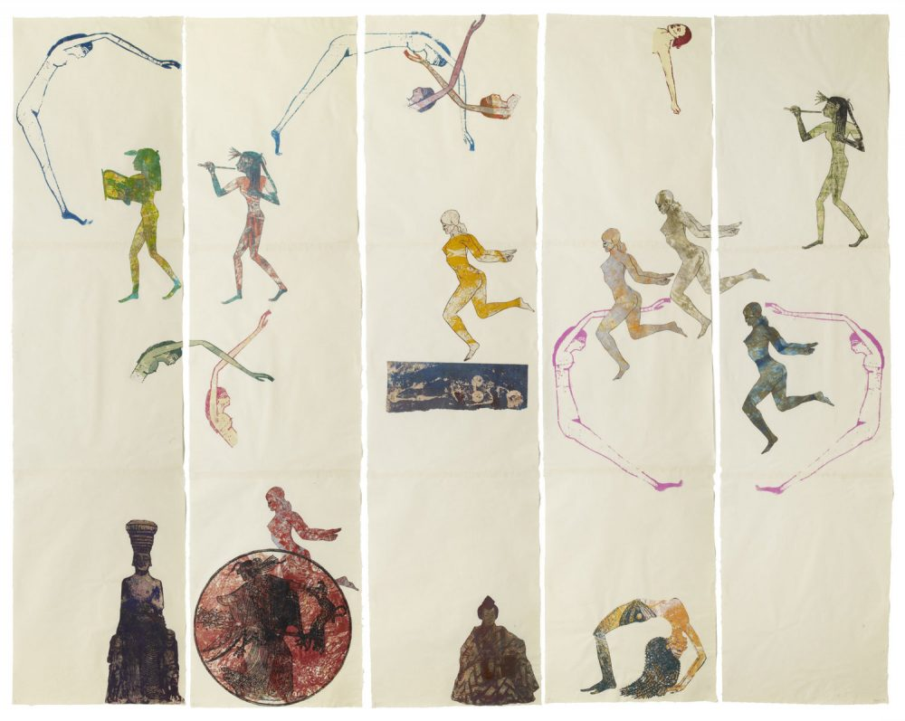 Nancy Spero. The Goddess Nut II. 1990 . Handprinting and printed collage on paper scaled